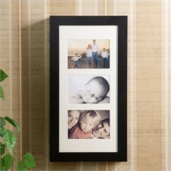 Pemberly Row Photo Display Wall Mount Black Jewelry Armoire