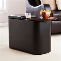 Pemberly Row Entertainment Companion Table in Black Finish