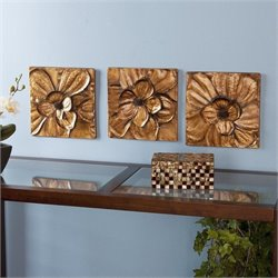 Pemberly Row Magnolia 3 Piece Wall Panel Set in Metallic Gold