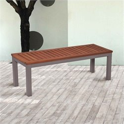 Pemberly Row Outdoor Backless Bench in Gray