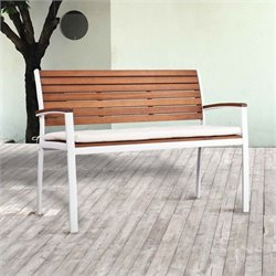 Pemberly Row Outdoor Bench in Soft White