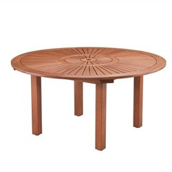 Pemberly Row Larmar Outdoor Round Table in Oiled Eucalyptus