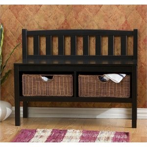 Pemberly Row Satin Black Bench with 2 Brown Rattan Baskets