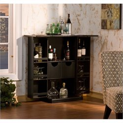 Pemberly Row Fold Away Home Bar in Black