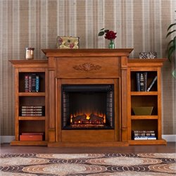 Pemberly Row Electric Fireplace w Bookcases in Pine