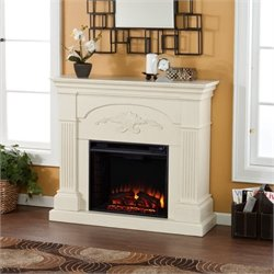 Pemberly Row Salerno Electric Fireplace in Ivory
