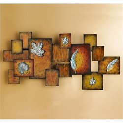 Pemberly Row Hand Painted Earth Tone Wall Art Panel