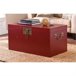 Pemberly Row Genki Trunk Coffee Table in Distressed Red