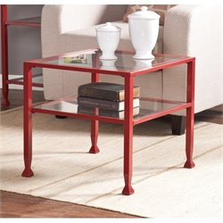 Pemberly Row Glass Top Metal Coffee Table in Red
