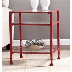 Pemberly Row Glass Top Metal End Table in Red
