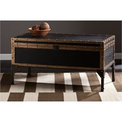 Pemberly Row Drifton Travel Trunk Coffee Table in Black
