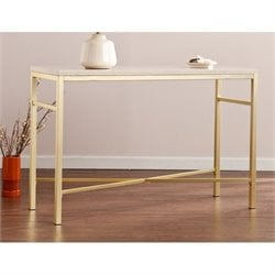 Pemberly Row Orinda Metal Console Table in Travertine