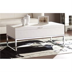 Pemberly Row Reptile Storage Coffee Table in Cream