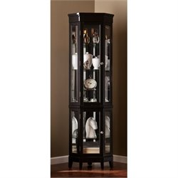 Pemberly Row Corner Curio in Black