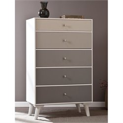 Pemberly Row 5 Drawer Storage Cabinet in White