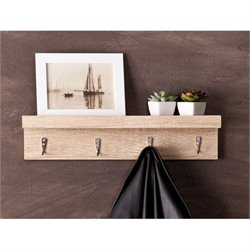 Pemberly Row Wall Mount Shelf and Coat Rack in Light Oak