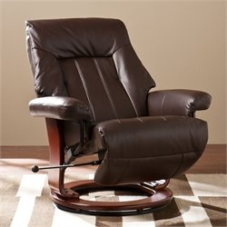 Pemberly Row Norland Faux Leather Recliner in Kona Brown
