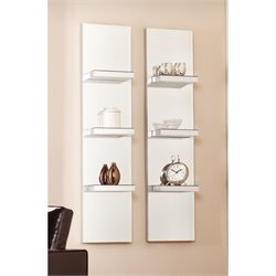Pemberly Row Mirrored Wall Display Shelf in Silver (Set of 2)