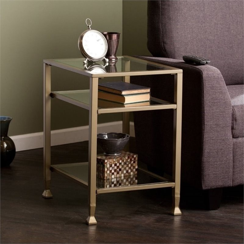 Pemberly Row End Table in Matte Gold