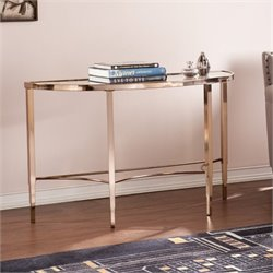 Pemberly Row Demilune Console Table in Metallic Gold