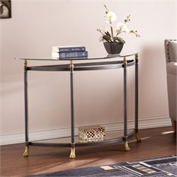 Pemberly Row Demilune Glass Console Table in Gold