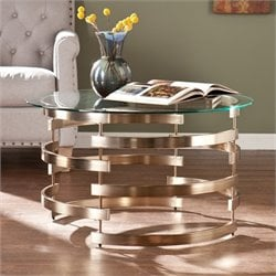 Pemberly Row Round Coffee Table in Champagne