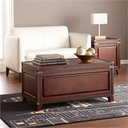 Pemberly Row Trunk Coffee Table in Dark Cherry