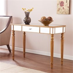 Pemberly Row Mirrored Console in Champagne Gold