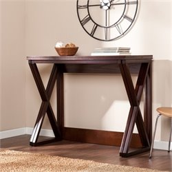 Pemberly Row Adjustable Counter Dining Table in Espresso