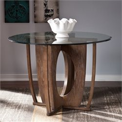 Pemberly Row Glass Top Round Dining Table in Burnt Oak