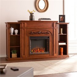 Pemberly Row Bookcase Electric Fireplace in Oak