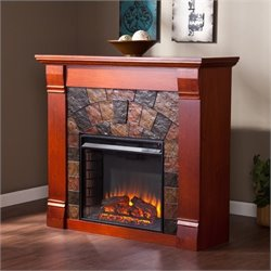 Pemberly Row Faux Stone Electric Fireplace in Mahogany