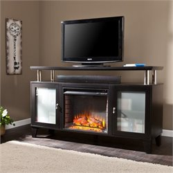 Pemberly Row Fireplace TV Stand in Black