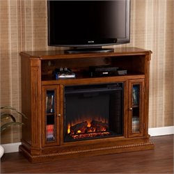Pemberly Row Fireplace TV Stand in Rich Brown Oak