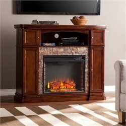 Pemberly Row Faux Stone Fireplace TV Stand in Brown