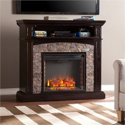 Pemberly Row Faux Stone Fireplace TV Stand in Ebony