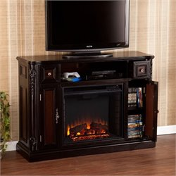 Pemberly Row Fireplace TV Stand in Ebony