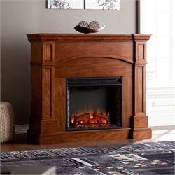 Pemberly Row Convertible Electric Fireplace in Oak