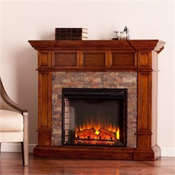 Pemberly Row Faux Stone Electric Fireplace in Oak