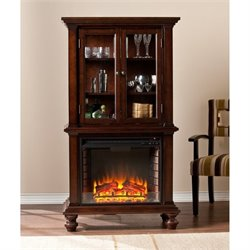 Pemberly Row China Cabinet with Fireplace in Espresso