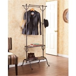 Pemberly Row Entryway Shelf Hall Tree in Distressed Fir