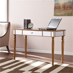 Pemberly Row Mirrored Desk in Champagne Gold