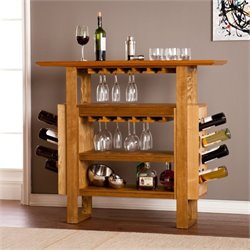 Pemberly Row Console Wine Rack in Weathered Oak