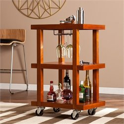 Pemberly Row Chic Bar Cart in Warm Mahogany