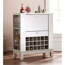 Pemberly Row Mirrored Wine and Bar Cabinet in Silver