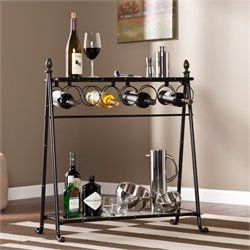 Pemberly Row Wine Table in Black and Bronze