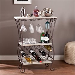 Pemberly Row Wine Storage Table in Gray and Rust