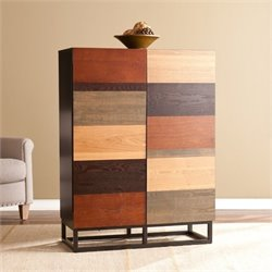 Pemberly Row Bar Cabinet in Multi Tonal Wood and Black