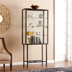 Pemberly Row Sliding Door Display Cabinet in Black
