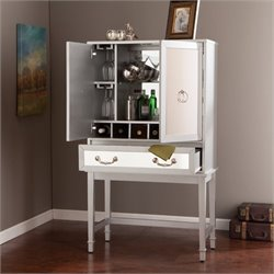 Pemberly Row Mirrored Bar Cabinet in Silver